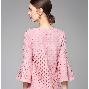 5bd9ec6cd0 StyleWe Dresses - StyleWe Pink Lace Floral Bell Sleeve Dress